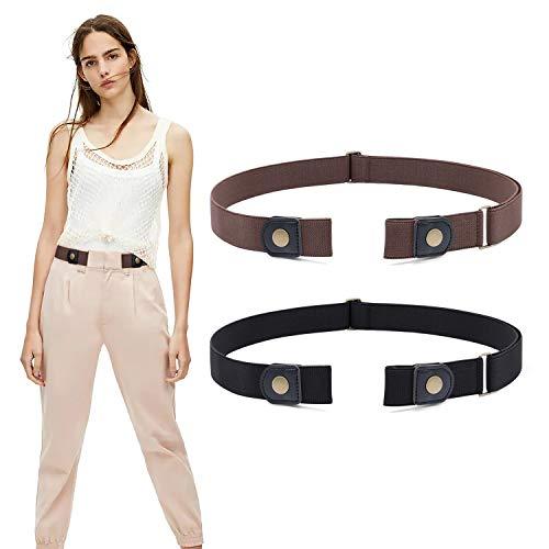 WERFORU 2 Stück Gürtel ohne Schnalle Elastischer Unsichtbare Dehnbarer Gürtel für Damen & Herren Justierbar Stretchgürtel mit Leichter Stil Gürtel Stilvoll Gürtel für Jeans Hosen
