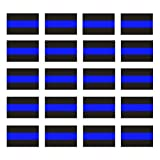 Reflective Blue Lives Matter License Plate Sticker - Pack of 20 Vinyl Decal - Cop Thin Blue Line Decals - Proudly Support Police / Law Enforcement Officers (1' x 1.5')