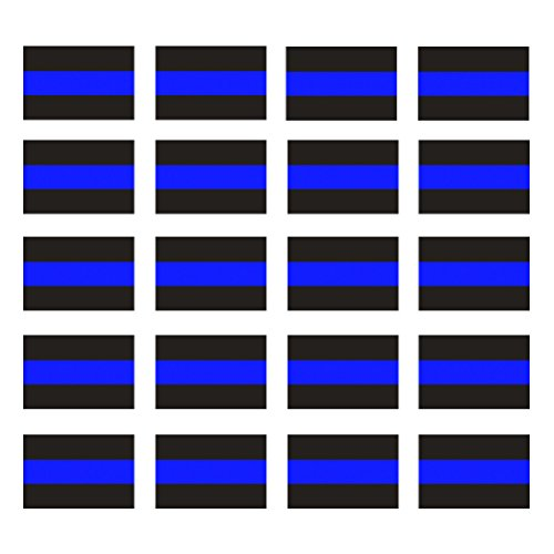 CREATRILL Reflective Blue Lives Matter License Plate Sticker - Pack of 20 Vinyl Decal - Cop Thin Blue Line Decals - Proudly Support Police/Law Enforcement Officers (1' x 1.5')
