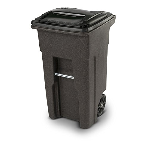 Toter 79232-R1279 32 Gallon Brownstone Trash Can with Wheels and Attached Lid