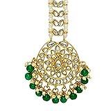 Aheli Faux Kundan Beaded Maang Tikka Head Piece Indian Wedding Ethnic Fashion Jewelry for Women Girls (Green)