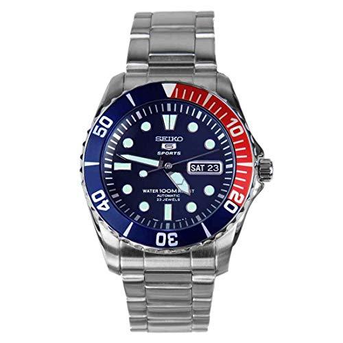 Seiko Herren Sport 5 42 mm Stahlarmband & Gehäuse Hardlex Kristall Automatik Blaues Zifferblatt Analog Uhr SNZF15K1