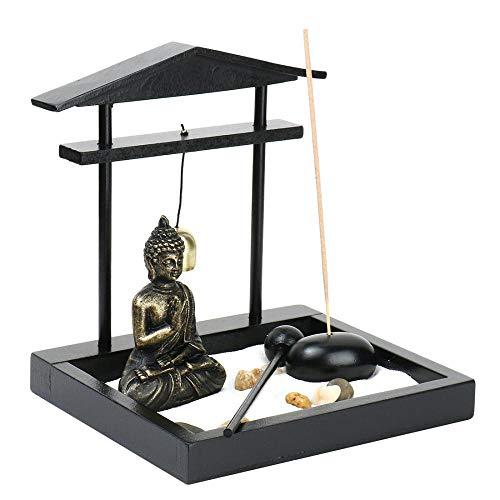 Buddha Incense Sticker Burner Holder with Bell, Bell Beater - Zen Statue Ornament for Desk Home Décor (1:15x14x13cm)