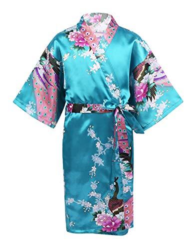 Aislor Enfant Fille Peignoir Pyjama de Chambre Kimono Japonais Style Long Robe Chemise de Nuit Paon Floral Imprimé Pyjamas Vêtements de Nuit 3-14 Ans Lac Bleu 5-7 Ans