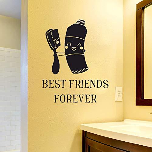 YCEOT 30 x 37 cm tandpasta tandenborstel beste vrienden citaat wandsticker voor bad vinyl tattoo muur kinderkamer Italiaanse tand