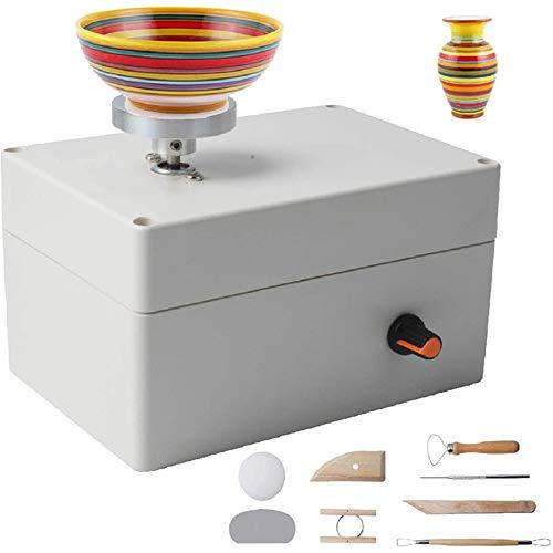 Beada Máquina de rueda de cerámica, kit de fabricación de cerámica USB con 6 herramientas de arcilla de cerámica, ruedas eléctricas de cerámica DIY kits