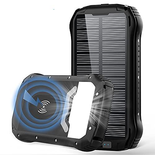 Wireless Solar PowerBank 26800mAh, 20W QC3.0 USB C Power Bank Solar, Schnellladefunktion Solarladegeräte mit 4 Ausgängen & 3 Eingängen, 4 Modi Taschenlampe, IP66 Wasserdicht für Camping im Freien
