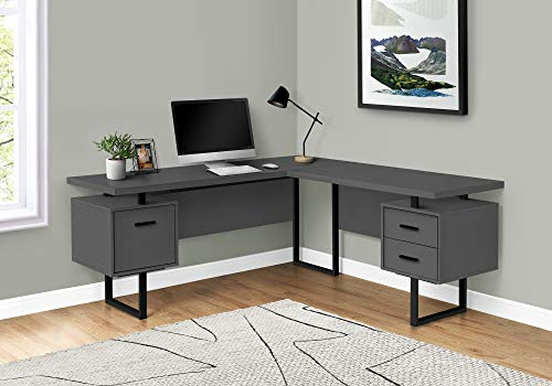 "Monarch Specialties Corner Floating Desktop-3 Storage Drawers-Reversible-Home Office Computer Desk, 71"" L x 71"" W, Grey/Black"