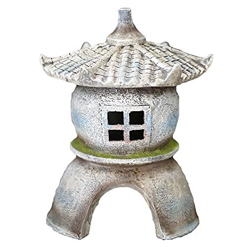 MISS KANG Estatuas al Aire Libre 11.02'H Pagoda Lantern Solar Powered DIRIGIÓ Luz del jardín de la Estatua al Aire Libre, Escultura de jardín Impermeable Decorativo Qingchunw