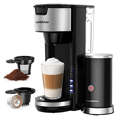 Singles Serve Coffee Makers With Milk Frother, 2-In-1 Coffee Machine For K Cup Pod & Coffee Ground, Latte and Cappuccino Maker, Built in Portable Electric Milk Steamer, 3Oz Reservoir 5 Brew Size Small Coffee Brewer Machine for office Home Kitchen- Black