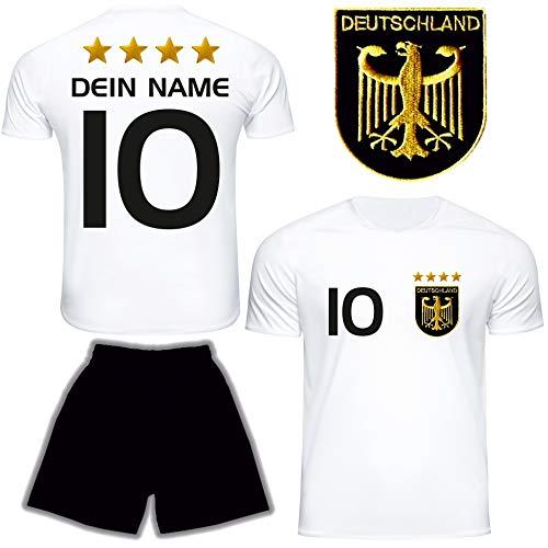 DE FANSHOP Deutschland Trikot mit Hose & GRATIS Wunschname Nummer Wappen Typ #D 2021 im EM/WM Weiss - Geschenke für Kinder, Jungen, Baby, Fußball T-Shirt personalisiert