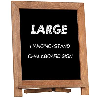 """Rustic Chalkboard Sign, NEARPOW 15""""x12"""" Tabletop Stand and Wall Hanging Display, Solid Pine Wood Frame with Smooth Magnetic Surface Chalk Board Easel for Home Decoration, Wedding, Kitchen, Menu(Brown)"""