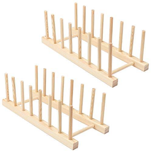 TsunNee Bambu diskrin, bambu-matställning, bambudisk torkställ avlopp, bambu diskhylla, köksbänk förvaringshållare, 2-pack