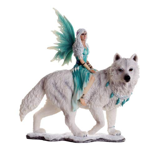 Pacific Giftware Decorative Companion Fairy Aneira with White Wolf Collectible Decorative Statue 8H