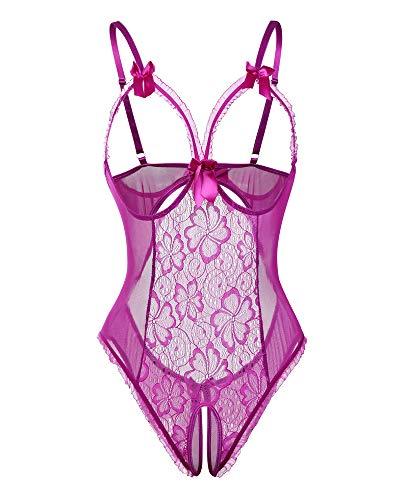 Avondii Damen Transparent Reizwäsche Oberteil Lingerie Bodysuit Nachtwäsche J1014 (S, C-Violett)
