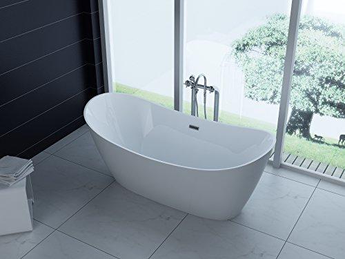 Trade-Line-Partner Luxus freistehende Badewanne 170x80 + Acrylwanne inkl. Ablauf und Überlauf (Whirlpool, Dusche, Badezimmer)