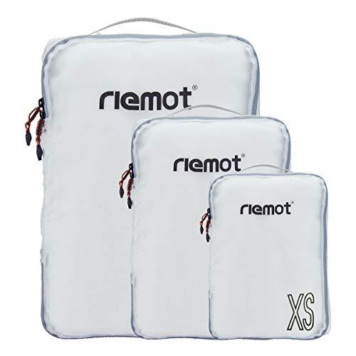 riemot Packtaschen Packwürfel Gepäck-Organizer Kleidertaschen Reisetaschen für Rucksack und Koffer Set 3-teilig Weiß
