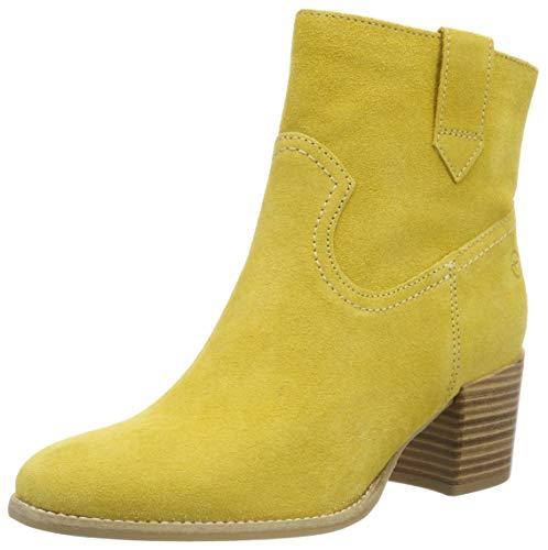 Botines con tacón para mujer amarillo suave
