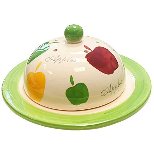Acan Dismope - Quesera de cerámica con diseño de Manzana 10 x 17 cm