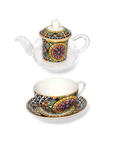 MONTEMAGGI Set da Te' for One teiera e Tazza in Vetro e Porcellana Boho Arancio