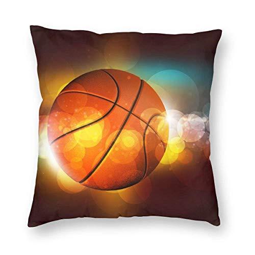 JONINOT Throw Pillow Case Funda de cojín Funda de Almohada Cuadrada, Baloncesto en el Color Fondo Brillante Funda de Almohada para sofá Cama (18x18 Pulgadas) Lados Gemelos
