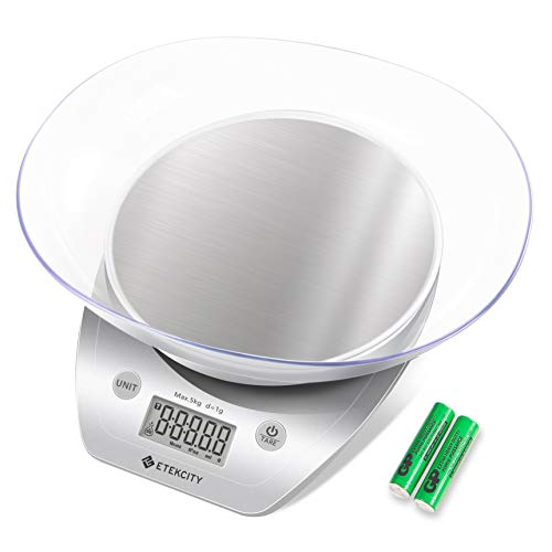 Etekcity Food Scale with Bowl, Digital Kitchen Weight Grams and Ounces for Cooking and Baking, Large, Silver/Stainless Steel
