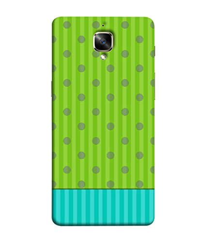 Printvisa Grey Polka Dots with Green Stripes Print Designer Back Cover for One Plus Three, One Plus 3