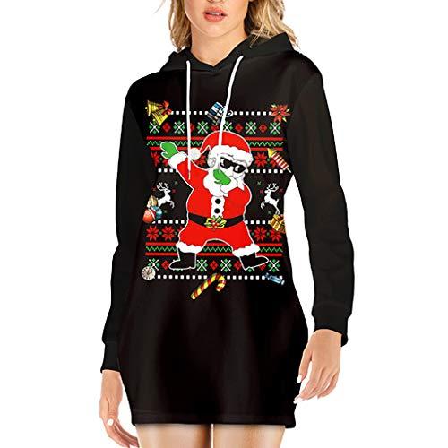 YWLINK Navidad Ropa Mujer Sudadera con Capucha OtoñO E Invierno De Manga Larga CordóN SuéTer Flojo Camiseta Casual ImpresióN De Santa Claus Ropa De Gran TamañO Vestido De Fiesta Disfraces De Navidad