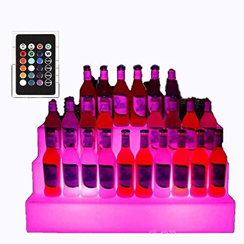 Cubo de hielo, cubo de hielo con pinzas para hielo Estante de vino luminoso cambiante colorido Soporte de exhibición de botella LED de 3 niveles, para licor, cerveza, vino tinto, bar, KTV, fiesta, pe