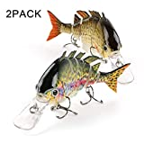 Scotamalone Fishing Lures Bass Trout Lures 2 Pack 6 Segment 3D Eyes Tackle 6# High Carbon Steel Anchor Hooks Topwater Lifelike Multi Jointed Artificial Swimbait 3.93Inches/0.49Oz