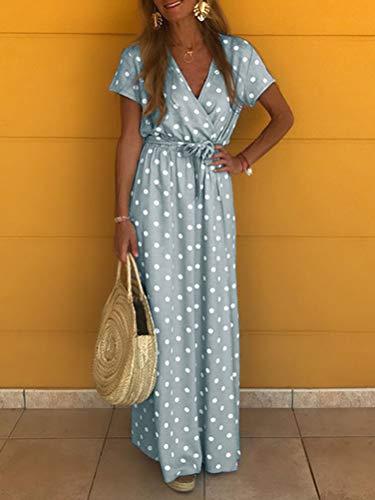 Onsoyours Mujer Casual Vestidos Verano Playa Bohemio Dress Lunares Cuello V Manga Corta Largo Vestido Chic Elegante Maxi Vestidos Gris 40