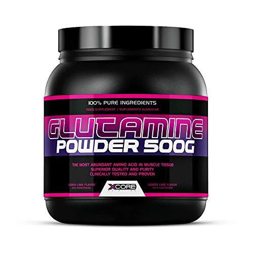 Xcore Nutrition Glutamine Powder 500g : Suplemento con Sabor a Lima Limón - Aumenta la Recuperación Muscular y Refuerza el Sistema  inmunológico - 96 Dosis