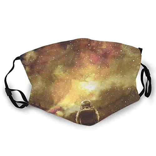 Cosmonaut Standing Against Cosmos Nebula Themed Zonnework Print Safety Mouth Cover voor volwassenen