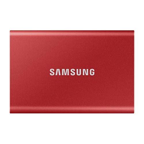 Samsung Memorie T7 MU-PC500R SSD Esterno Portatile da 500 GB, USB 3.2 Gen 2, 10 Gbps, Tipo-C, Rosso Metallico