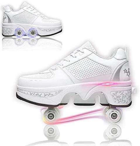 Roller Skates Botas Patines de 4 Ruedas Ajustables Patines, Zapatos de 2 en 1 Multiusos, Blanco,37