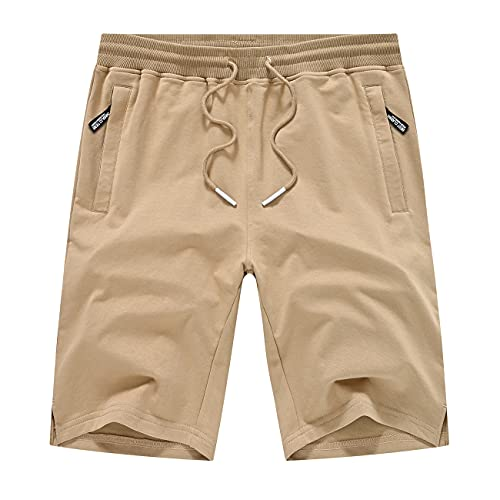 YuKaiChen Men's Cotton Shorts Casual Elastic Waist Drawstring Gym Workout Short Zipper Pockets Khaki 36