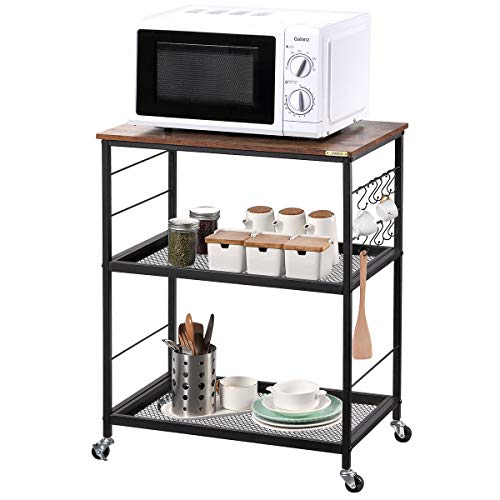 LEMONDA Industrial 30IN High 3 Tier Kitchen Serving Cart with 10 Hooks, Rolling Bakers Rack with Storage on Wheels , Microwave Oven Printer Stand for Home Bar Office