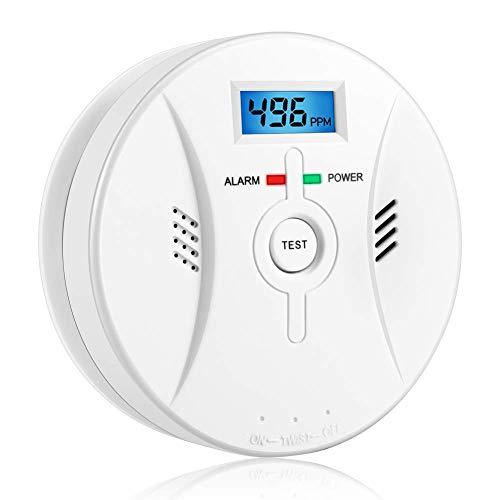 Kohlenmonoxid Warnmelder mit LCD Display CO Melder Lauter 85 Db Alarm Kohlenmonoxid Melder mit Kohlenmonoxidsensor Batteriebetrieb