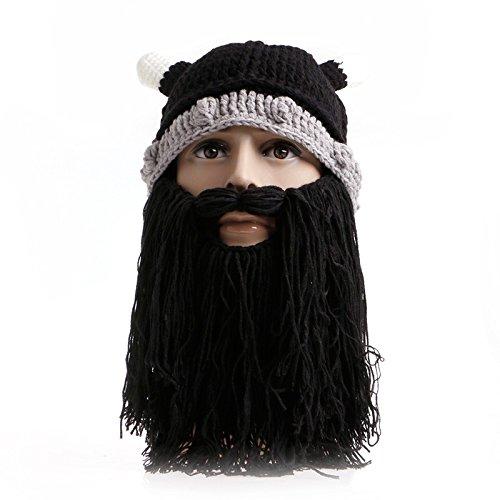 Qinlee Chapeau Vikings Tricoté Bonnet et Barbe Costumes de Cosplay drôle Chapeau sorcière Rigolo Chapeau de sorcière Halloween pour Adulte Enfant