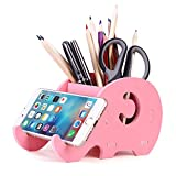 COOLBROS Wood Elephant Pencil Holder with Phone Holder Desk Organizer Desktop Pen Pencil Mobile Phone Bracket Stand Storage Pot Holder Container Stationery Box Organizer (Pink)