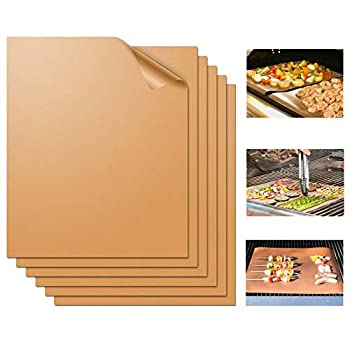 Miaowoof Copper Grill Mat Set of 6-100% Non-Stick BBQ Grill Mats Heavy Duty Reusable and Easy to Clean - Works on Electric Grill Gas Charcoal BBQ 15.75 x 13-Inch 6 Pcs Solid Mat