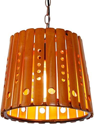 Aplique de pared de estilo contemporáneo creativo de bambú pendiente de la lámpara de la lámpara de madera antiguo colgantes restaurante americano Industrial E27 retro luz colgante Pantalla Cúpula Dis