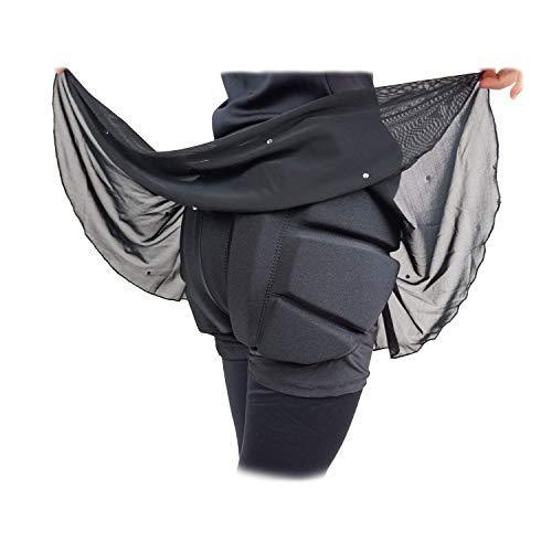 Skating Spirit Padded Skating Shorts Protective Crash Pants Built-in Mash Skirt Covering Tailbone Hip Butt Pad (M) Black