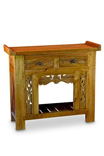Teak Malay, houten consoletafel van oudhout met 2 laden en snijwerk, ook geschikt als wandtafel in woonkamer, hal, slaapkamer