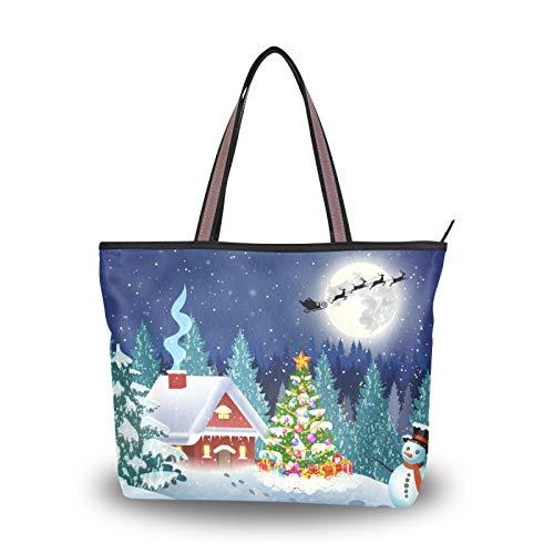 Bolso de mano Monedero Compras Navidad Muñeco de nieve Papá Noel Ligero Correa Bolsos de hombro para madres Mujeres Niñas Señoras Bolsos para estudiantes