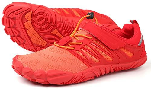 WHITIN Herren Damen Traillaufschuhe Minimalistische Barfußschuhe 5 Five Finger Zehenschuhe Fivefinger Trail Laufschuhe Fitnessschuhe Barfussschuhe für Männer Turnschuhe Orange Rot Größe 44