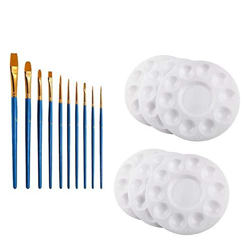 PHLPS 6 stücke weiße Paint Fach paletten, Kunststoff Palette Paint fachpaletten Kunststoff runde paletten für Kinder, für Kinder zum malen oder eine geburtstagsmalerei