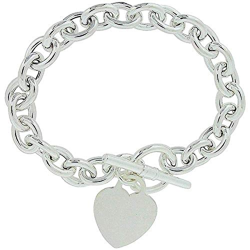 TOC Sterling Silver 28-30 Gram Bracelet with Heart Charm and T-Bar Closure