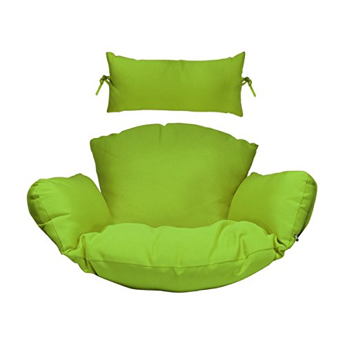 Hanging Chair Deep Seat Cushion Set Included Headrest and Armrest - Outdoor Porch Backyard Patio Hammock Swing Furniture Replacement Cushions (Green)