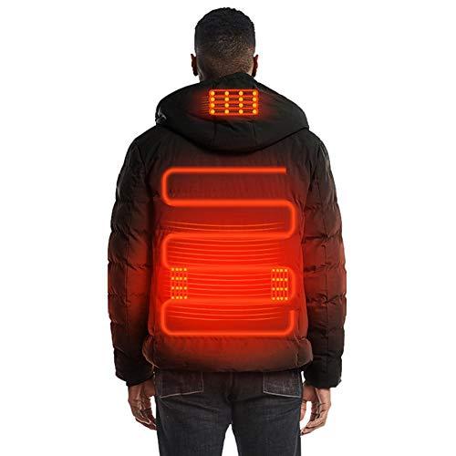 knowledgi - Chaqueta calefactora para hombre, resistente al agua, resistente al viento, invierno, cálida, ajustable, con USB, cremallera y capucha, lavable a máquina